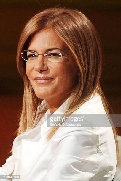 """Head of Confindustria Emma Marcegaglia appears on """"Che Tempo Che Fa"""" Italian TV show at Rai Studios on October 9, 2011 in Milan, Italy."""
