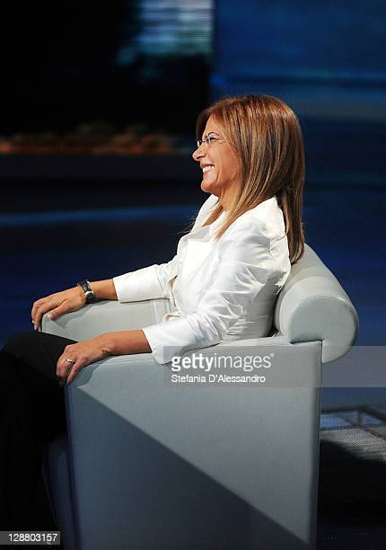 Head of Confindustria Emma Marcegaglia appears on Che Tempo Che Fa Italian TV show at Rai Studios on October 9 2011 in Milan Italy