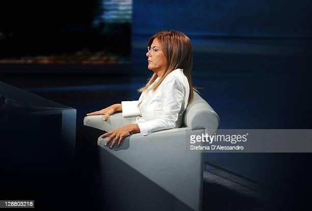 Head of Confindustria Emma Marcegaglia appears on Che Tempo Che Fa Italian TV show at Rai Studios on October 9 2011 in Milan Italy