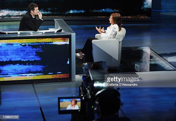 Head of Confindustria Emma Marcegaglia appears with Host Fabio Fazio on Che Tempo Che Fa Italian TV show at Rai Studios on October 9 2011 in Milan...