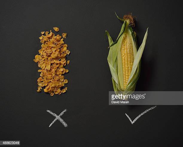 Head of corn alongside corn flakes