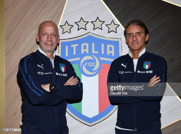 Head of Delegation of the Italian National Team Gianluca Vialli and Head Coach Italy Roberto Mancini pose for a photo at Centro Tecnico Federale di...