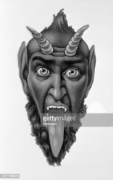 Head of Devil with horns tongue sticking out Lithograph Undated