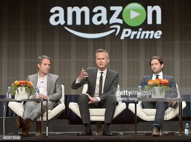 Head of Drama Amazon Studios Morgan Wandell Head of Amazon Studios Roy Price and Head of Comedy Amazon Studios Joe Lewis speak onstage during the...