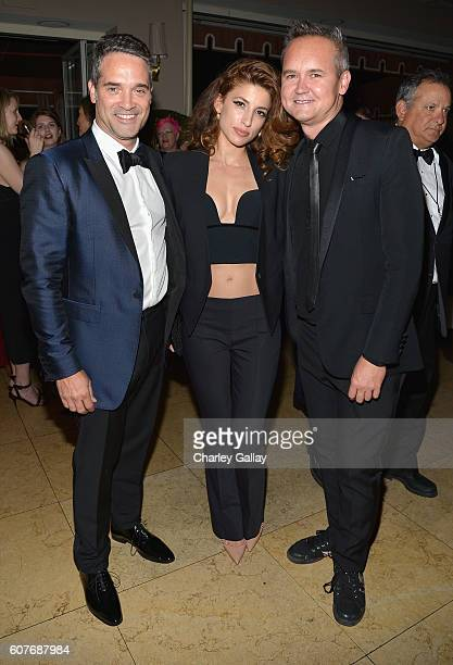 Head of Drama Development at Amazon Studios Morgan Wandell actress Tania Raymonde and Head of Amazon Studios Roy Price attend Amazon's Emmy...