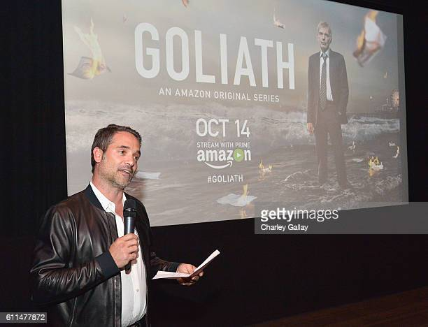 Head of Drama Series for Amazon Studios Morgan Wandell speaks during the Amazon red carpet premiere screening of original drama series 'Goliath' at...