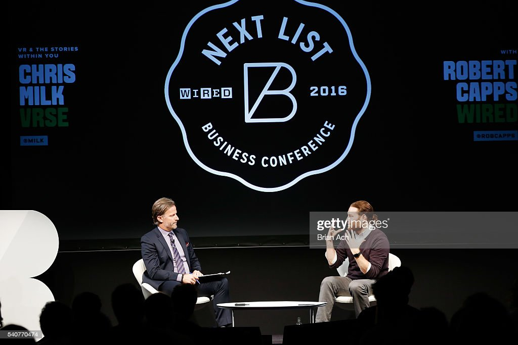Head of editorial at WIRED Robert Capps (L) and founder and CEO of Vrse Chris Milk speak on stage during the 2016 Wired Business Conference on June 16, 2016 in New York City.