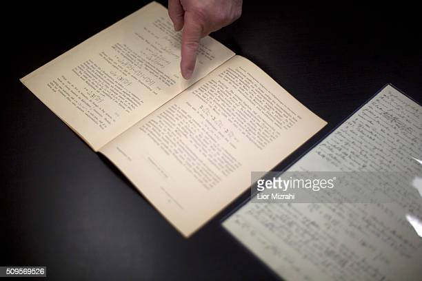 Head of Einstein Archives Dr Roni Gross of the Hebrew University presents the original 100 years old documents of Albert Einstein's prediction of the...
