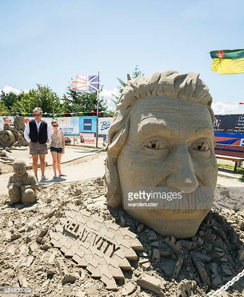 Head of Einstein sand sculpture