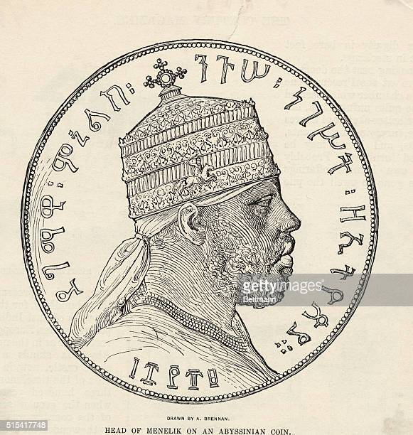 Head of Emperor Menelik II on an Abyssinian coin drawn by A Brennan King of Shewa and Emperor of Ethiopia He was one of Ethiopia's greatest rulers he...
