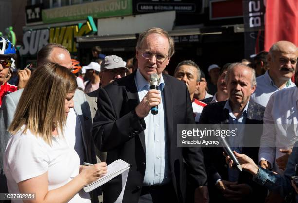 Head of European Union Delegation in Turkey Christian Berger makes a speech during the 'CarFree Day' within the 'European Mobility Week' from July...