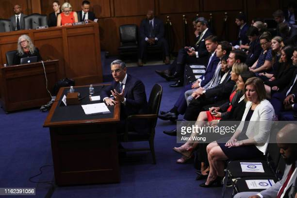 Head of Facebook's Calibra David Marcus testifies during a hearing before Senate Banking Housing and Urban Affairs Committee July 16 2019 on Capitol...