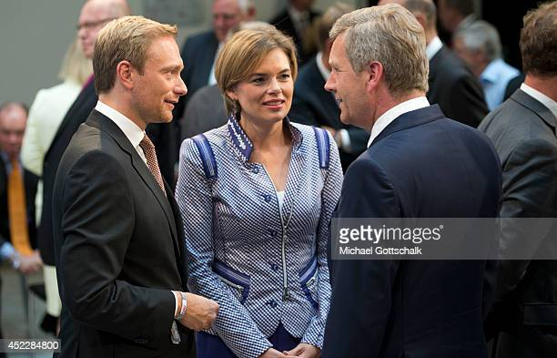 Head of FDP Christian Lindner head of CDU in Rhineland Palatinate State Julia Kloeckner and former President Christian Wulff attend a reception on...
