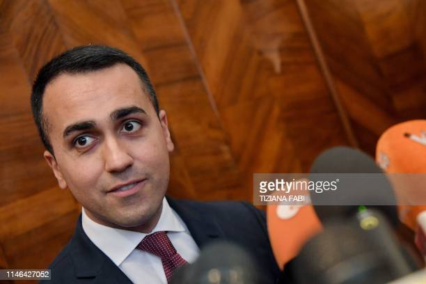 Head of Five Star Movement and Italy VicePrime Minister Luigi Di Maio answers to journalists questions during a press conference in Rome on May 27...