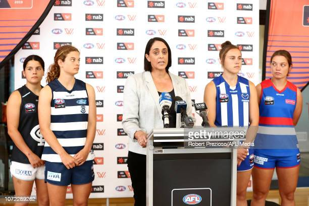 AFLW head of football Nicole Livingstone speaks during a North Melbourne Kangaroos AFLW Media Opportunity at Arden Street Ground on December 13 2018...