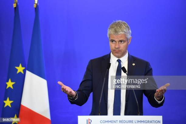 TOPSHOT Head of France's rightwing Les Republicains opposition party Laurent Wauquiez speaks during a convention focused on the immigration theme at...