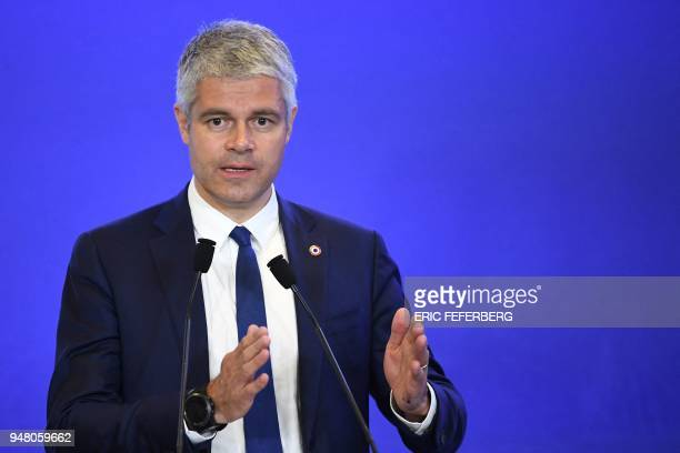 Head of France's rightwing Les Republicains opposition party Laurent Wauquiez speaks during a convention focused on the immigration theme at the LR...