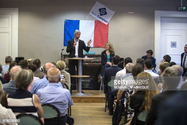 Head of France's rightwing Les Republicains opposition party Laurent Wauquiez gives a speech during a public meeting held by French rightwing...