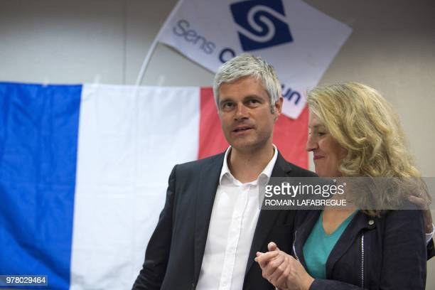Head of France's rightwing Les Republicains opposition party Laurent Wauquiez attends a public meeting held by French rightwing political movement...
