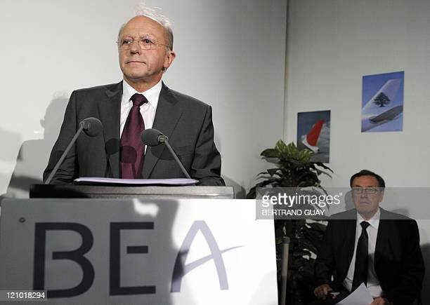 Head of French agency Bureau of Enquiry and Analysis for Civil Aviation Safety JeanPaul Troadec speaks during a press conference on July 29 2011 at...