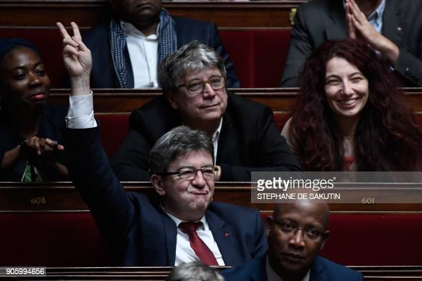 Head of French leftist party La France Insoumise JeanLuc Melenchon gestures as another MP from his party asks a question during a session of...