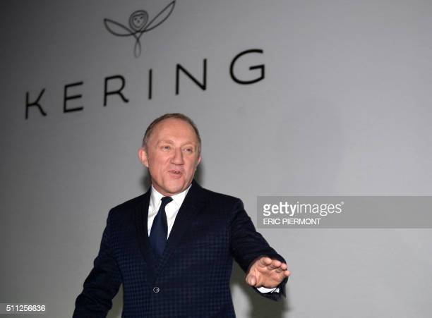 Head of French luxury group Kering Francois-Henri Pinault arrives to give a press conference to announce the 2015 group results in Paris on February...