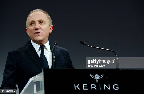 Head of French luxury group Kering FrancoisHenri Pinault gives a press conference to announce the 2015 group results in Paris on February 19 2016 A...