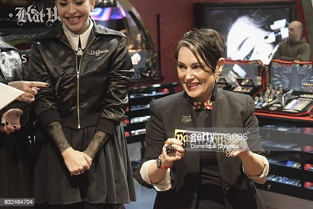 Head of global marketing at Kat Von D Beauty Kelly Coller attends the Kat Von D Beauty opening weekend with influencers at Sephora ChampsElysees on...