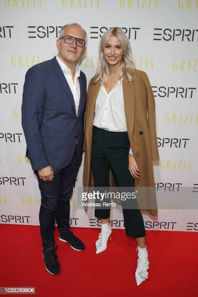 SVP Head of Global Marketing Esprit Vincent Jeanniard and Lena Gercke attend #LenaForEsprit Collection Launch Grazia x Esprit on September 14 2018 in...