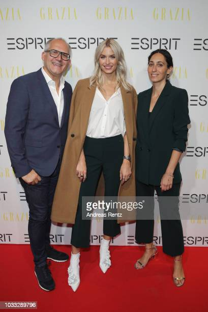 SVP Head of Global Marketing Esprit Vincent Jeanniard Lena Gercke and Miriam Amro attend #LenaForEsprit Collection Launch Grazia x Esprit on...