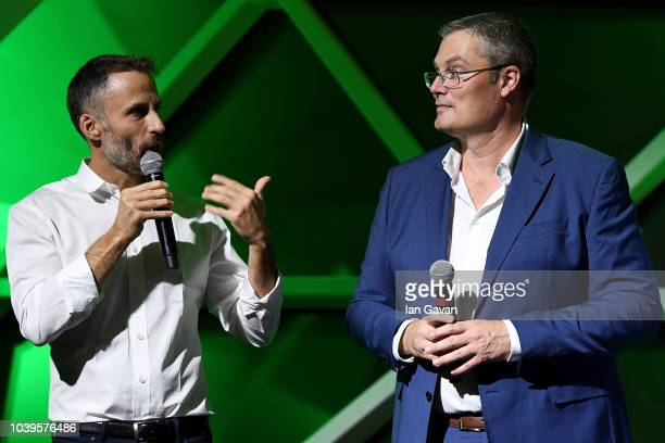 Head of global partnerships and sponsorships Aldo Fucelli Pessot del Bo' and General Manager Italy Morten Lehn speak during the exclusive party for...
