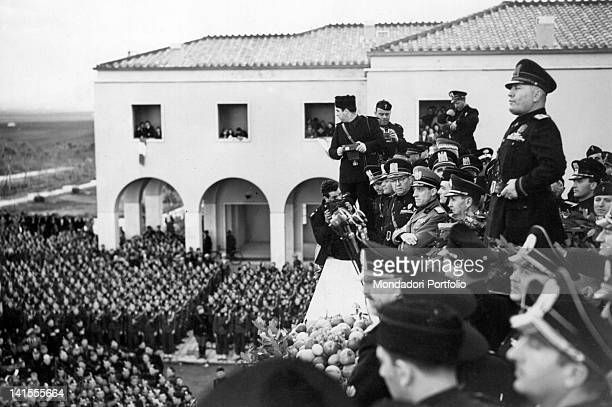 Head of Government Benito Mussolini taking part in the inauguration of the first rural settlements in Agro Pontino Pomezia 29th October 1939