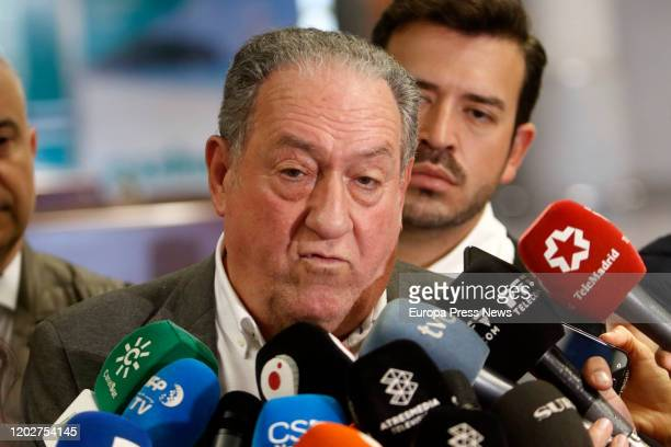 Head of Health Services of the Territorial Delegation of Andalucia Enrique Moya speaks to the press after the arrival of the football team of Wuhan...