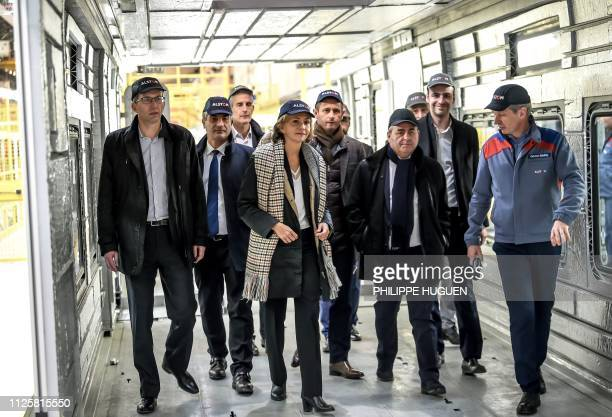 Head of IledeFrance regional council Valerie Pecresse and President of the HautsdeFrance region Xavier Bertrand visit the Alstom plant manufacturing...