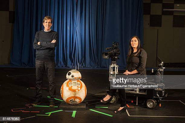 Head of ILM Studio Sam Mercer and General Manager of Lucasfilm Ltd Lynwen Brennan are photographed with BB8 for Le Figaro Magazine on November 25...