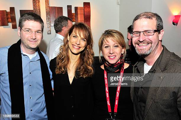 Head of IMDb Pro Jack Bernstein director Lynn Shelton CEO of TheWrap Sharon Waxman and IMDb editor Keith Simonton attend the IMDb Sundance dinner...