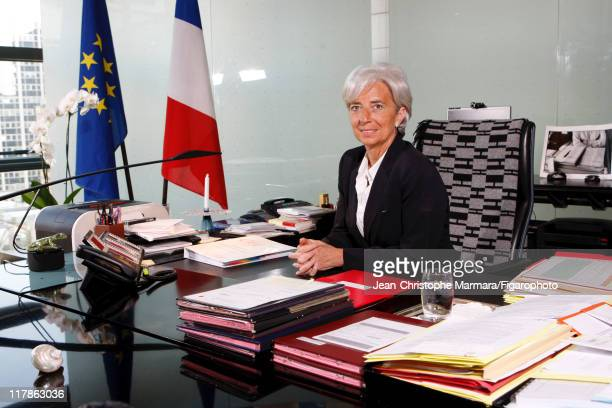 Head of IMF Christine Lagarde is photographed for Le Figaro Magazine on April 15 2010 in Paris France Figaro ID 097332034 CREDIT MUST READ...