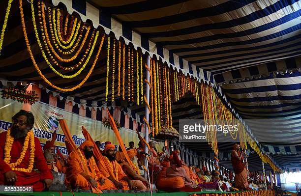 head of Indian hindu Saints Jagadguru Shankaracharya Swami swaroopanand Saraswati ji along with other saints and religious sadhus attends 'Dharm...