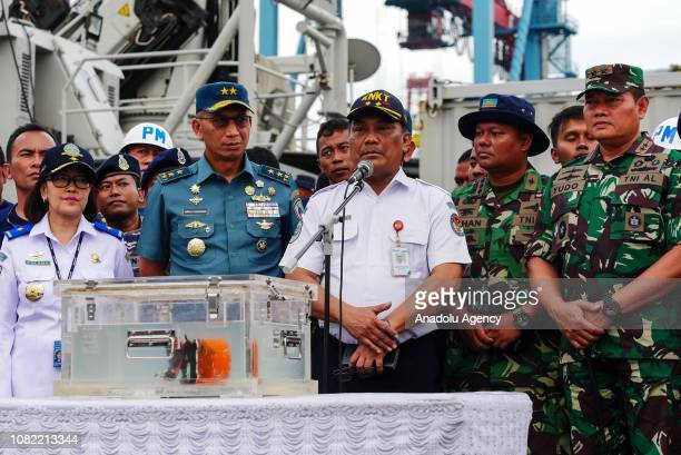Head of Indonesias transport safety committee Surjanto Tjahjono speech during a cockpit voice recorder of the crashed Lion Air JT610 press conference...