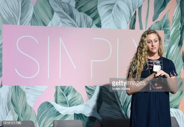 Head of Influencer Marketing Go Fish Digital Jessie Butner speaks on stage during the SIMPLY LA Fashion Beauty Conference Powered By WhoWhatWear at...