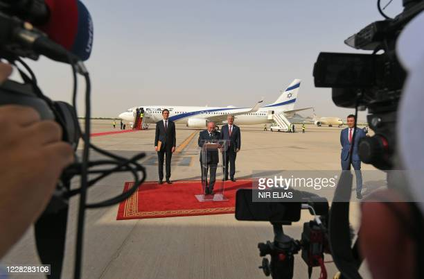 Head of Israel's National Security Council Meir Ben-Shabbat delivers a speech his arrival, as part of an Israeli-American delegation, at the Abu...