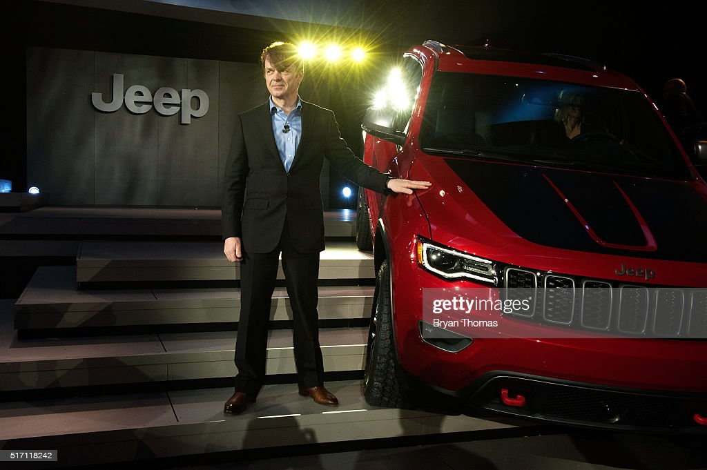Head of Jeep Brand Mike Manley stands next to the Trailhawk model of the Jeep Grand Cherokee at the New York International Auto Show at the Javits Center on March 23, 2016 in New York City. Manley introduced the Trailhawk, a model built for off-road use, and the Summit, a model built for luxury.