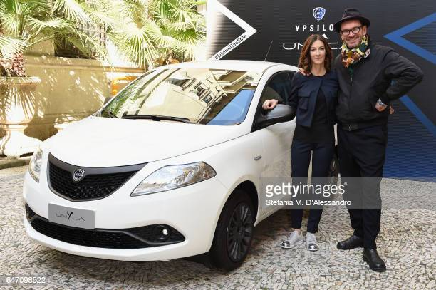 Head of Lancia Emea Antonella Bruno and photographere Settimio Benedusi attend Ypsilon Unyca Libera Il Tuo Stile Press Conference on March 2 2017 in...