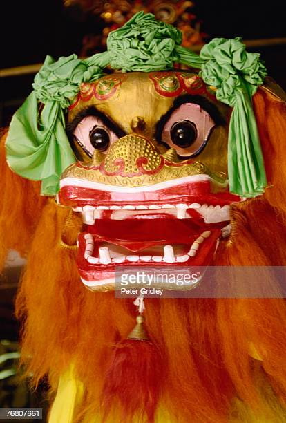 head of lion dance figure, chinatown, san francisco, california - san francisco chinatown stock photos and pictures