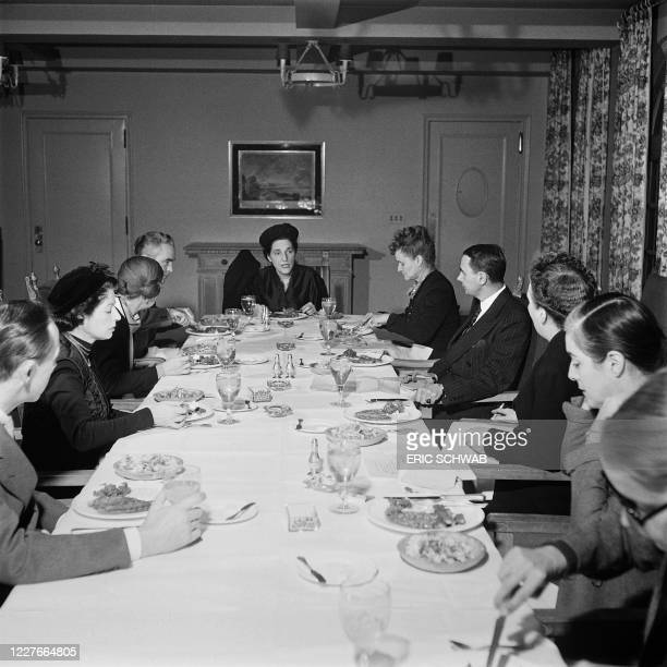 Head of Lord and Taylor department store Dorothy Shaver chairs a working lunch, in April 1946 in New York City. - In 1945, Dorothy Shaver became the...