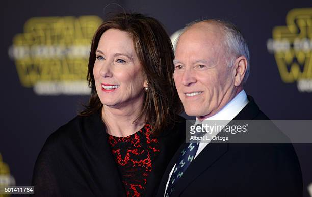 Head of LucasFilm Kathleen Kennedy and husband/producer Frank Marshall arrive for the Premiere Of Walt Disney Pictures And Lucasfilm's Star Wars The...
