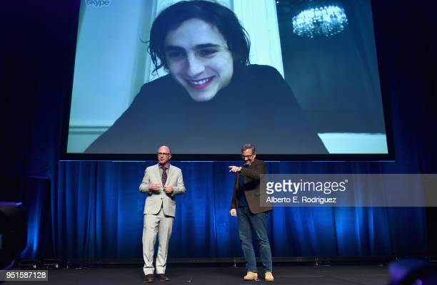 Head of Marketing Distribution at Amazon Studios Bob Berney and actors Steve Carell and Timothee Chalamet via satelite speak onstage during CinemaCon...