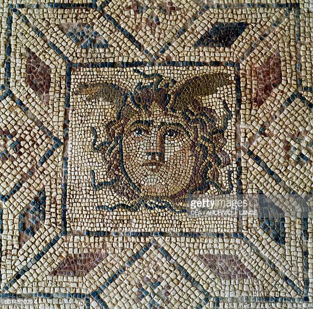 Head of Medusa detail from the mosaic floor in the Roman villa ancient city of Lilybaeum Marsala Sicily Italy Roman civilisation 2nd3rd century AD