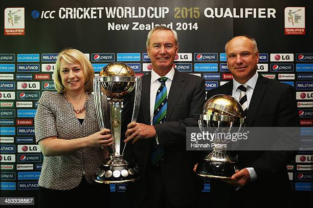 Head of New Zealand ICC Cricket World Cup 2015 Therese Walsh President of the ICC Alan Isaac and CEO of New Zealand Cricket David White hold the...