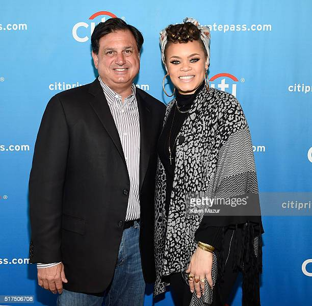 Head of North America Branded Cards Citigroup Ralph Andretta and Andra Day during Backstage with Citi Andra Day at Citi on March 25 2016 in Long...